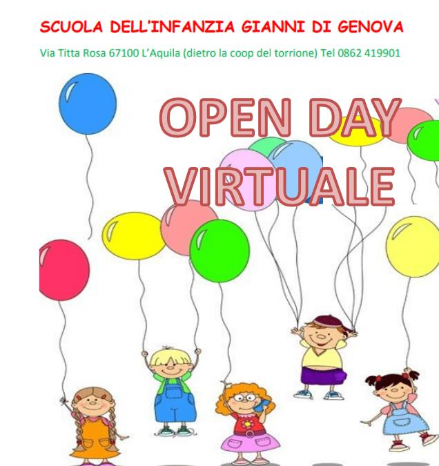 """""""OPEN DAY VIRTUALE"""" 23 Gennaio 2021 SCUOLA DELL'INFANZIA GIANNI DI GENOVA"""