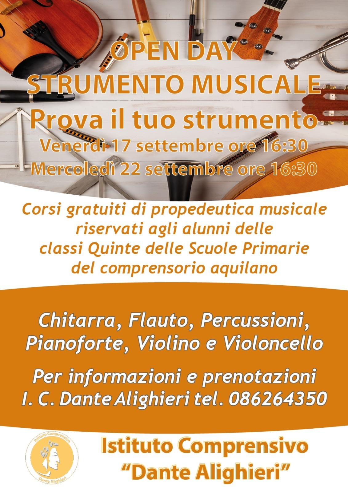 """OPEN DAY STRUMENTO MUSICALE  """"PROVA IL TUO STRUMENTO"""""""