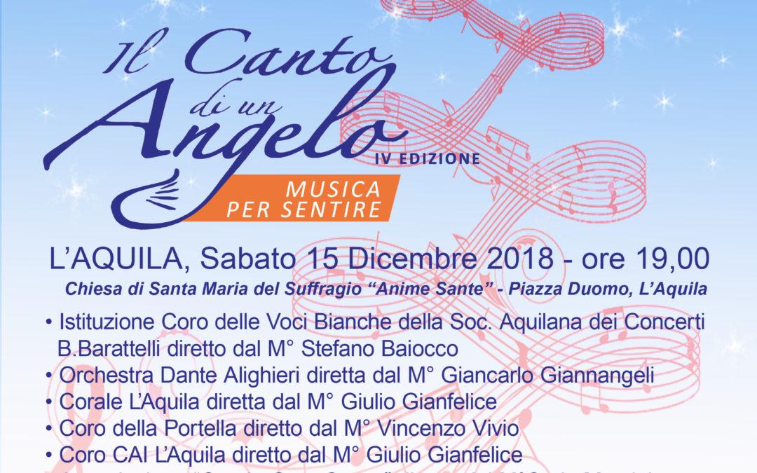 """""""Il Canto di un Angelo"""" Musica per sentire  IV Edizione Sabato 15 Dicembre 2019 ore 19.00"""