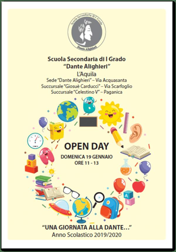 """OPEN DAY DOMENICA 19 GENNAIO ORE 11-13 """"UNA GIORNATA ALLA DANTE…"""" Anno Scolastico 2019/2020"""